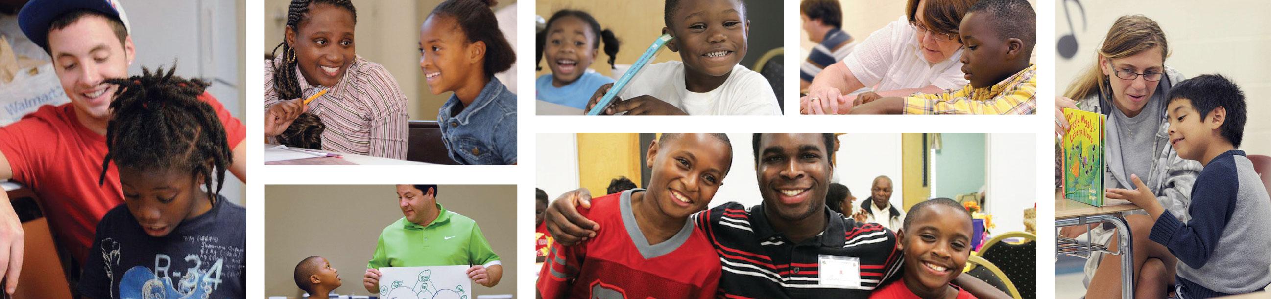 Photos of volunteers working with scholars.